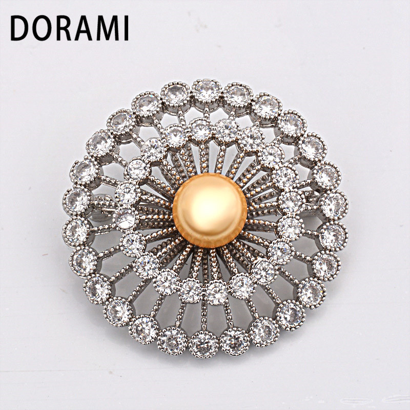 DORAMI Round Flower Brooch with Pearl Good quality Garment Accessorie  PIN Beautiful Dance party gift Fine Popular Jewelry