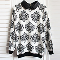 Fashion Winter Autumn Women Casual Long Sleeve Knitted Sweater Tops Slim Floral Lady Knitwear