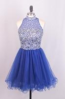Favordear Тюль новые сексуальные Фуксия Короткие Платья для выпускного Темно синие коктейльные платья новая высокая шея Бирюзовый Homecoming платья