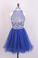 Favordear Tulle New Sexy Fuchsia Short Graduation Dresses Navy Blue Cocktail Dresses New High Neck Turquoise Homecoming Dresses
