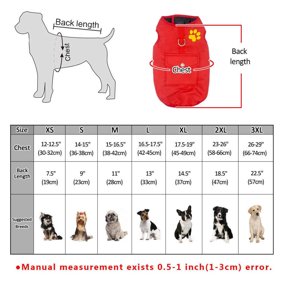 HJKL Hond Vest Jas Kleding Herfst Winter Winddicht Warme Hondenkleding Jas voor Kleine Medium Grote Honden XS-4XL 80