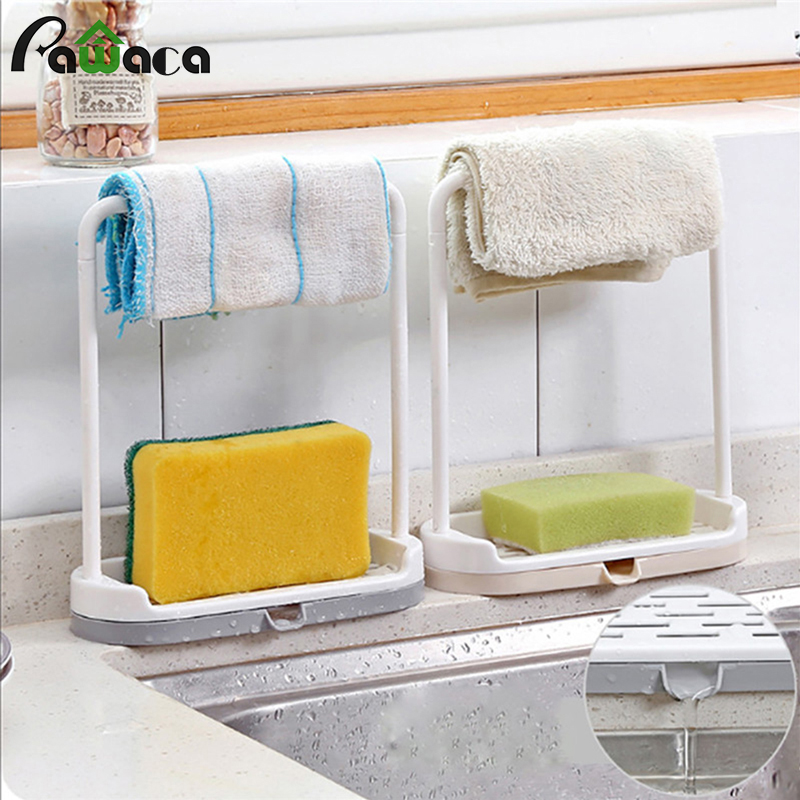 Towel Sponge Storage Drain Rack Rag Dishcloth Hanging Rack Bathroom Soap Holder Sink Desktop Organizer Kitchen Storage Holder