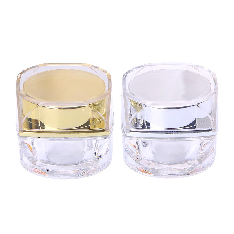 10G/5G Plastic Empty Cosmetic Jar Pots Face Cream Lip Balm Eyeshadow Makeup Container Refillable Bottles Gold/Silver Fashion New