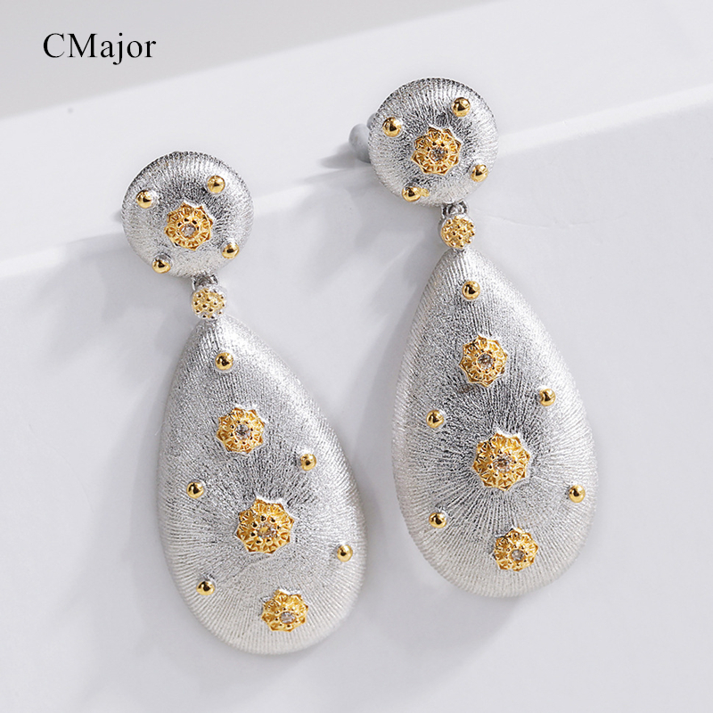 Cmajor Sterling Silver Water-drop Shaped Earrings Bezels Set CZ Vintage Palace Flower Drop Earrings Gift For Women