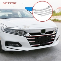 Topunion car body protection detector ABS Chrome trim Front up Grid Grill Grille panel For Honda Accord Sedan 10th 2018 2019