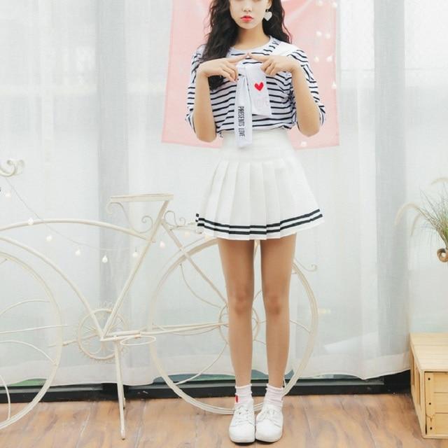 Haute Coréenne Moulante Plissée Jupe Rayé Mini Taille yImbgY7v6f