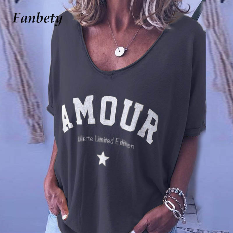 Fanbety Women Letters print Loose   blouse     shirts   summer casual short sleeve blusa tops pullover 2019 Elegant o neck   Shirts   S-5XL