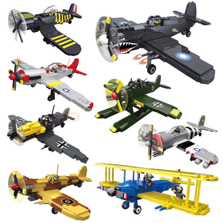 World war germany army air forces building block ww2 america fly tiger figures spitfire P-40 AR196 fighter model toy collection