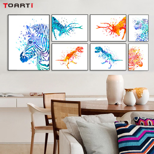 Nordic style watercolor animals and world map wall art canvas nordic style watercolor animals and world map wall art canvas painting kids room decoration wall picture gumiabroncs Choice Image