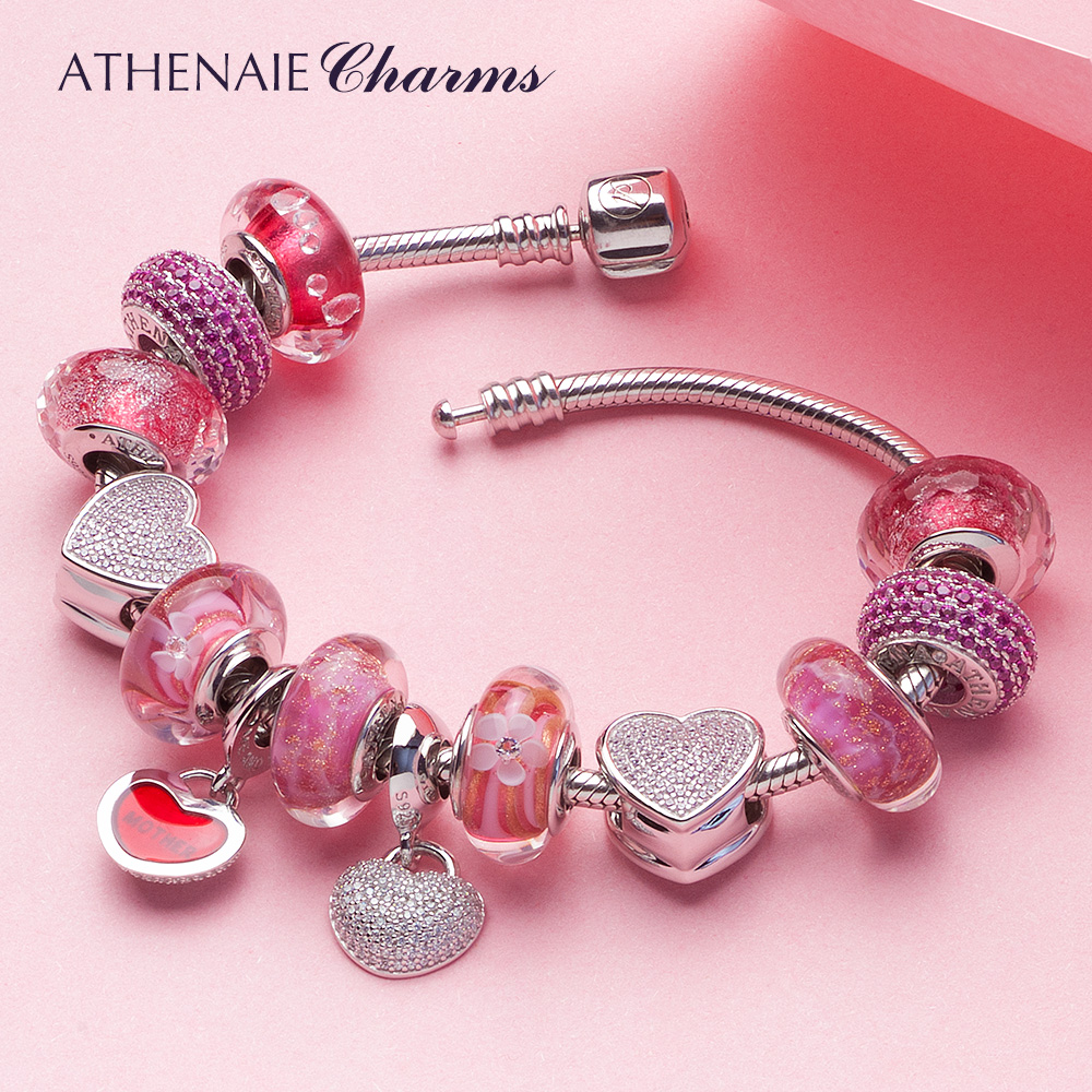 ATHENAIE Heart Charm Bracelet with Mother and Daughter Pendant & Flower Murano Glass Beads Silver 925 For Women DIY Jewelry купить в Москве 2019