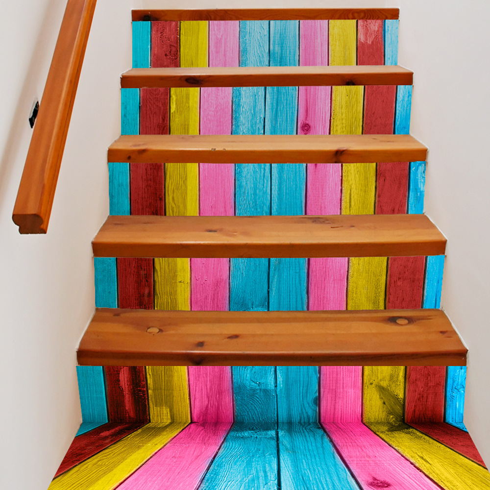 Funlife 18x200cmx6pcs décalcomanies d'escalier couleur bois Grain escalier décoration tabliers Coatroom enfant romantique coloré Stickers muraux
