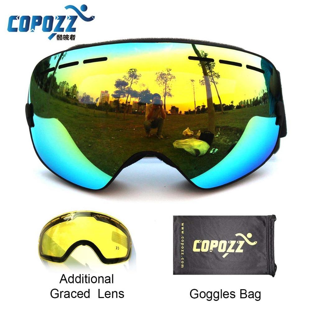 COPOZZ Brand Ski Goggles Double Lens UV400 Anti Fog Unisex Snowboard Ski Glasses With Night Vision Ski Lens Snow Eyewear Adult