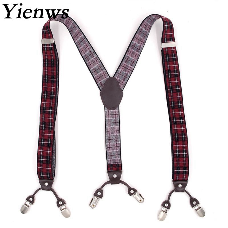 Yienws Suspenders Mens Jartiyer 6 Clasp Pants Braces Y Back Commercial Weastern Trousers Brace Strap Burgundy Plaid YiA009