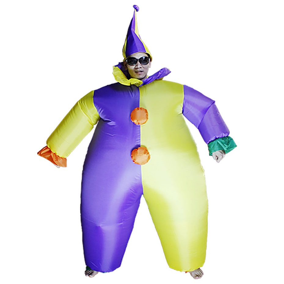 Women Men Adult Inflatable Clown Costume Halloween Xmas Birthday Gift Party Carnival Cosplay Fancy Dress Performance Blowup Suit