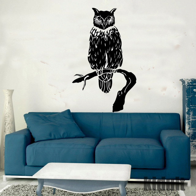 Owl Wall Stickers Decorative Home Life Pastoral Style Wallpaper Animals  Wallpaper Black And White Color Vinyl