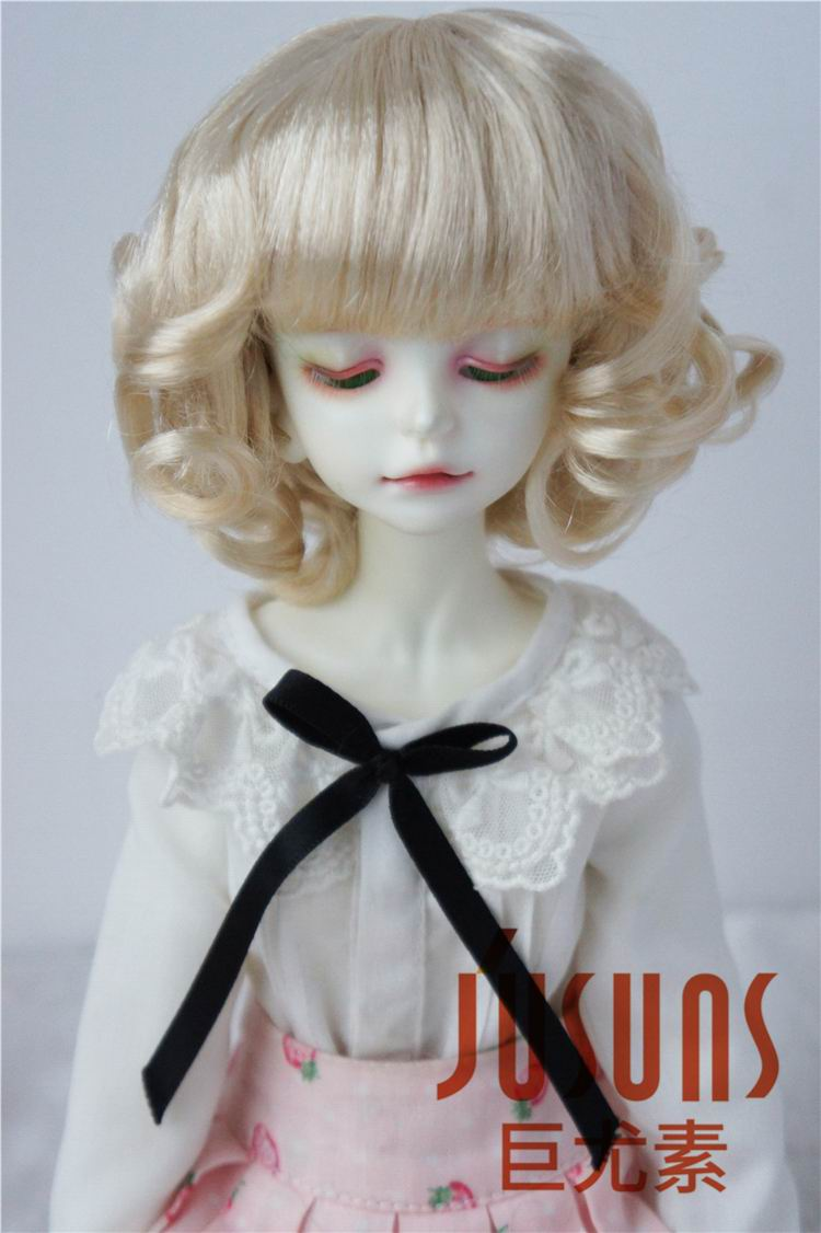 JD164 1/4 Synthetic mohair BJD doll wigs Size 6-7 inch Short curly doll wig MSD doll accessories