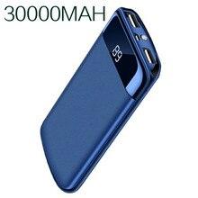30000 мАч Внешний аккумулятор повербанк 2 USB светодиодный power Bank портативный мобильный телефон зарядное устройство для Xiaomi Mi iphone 18650