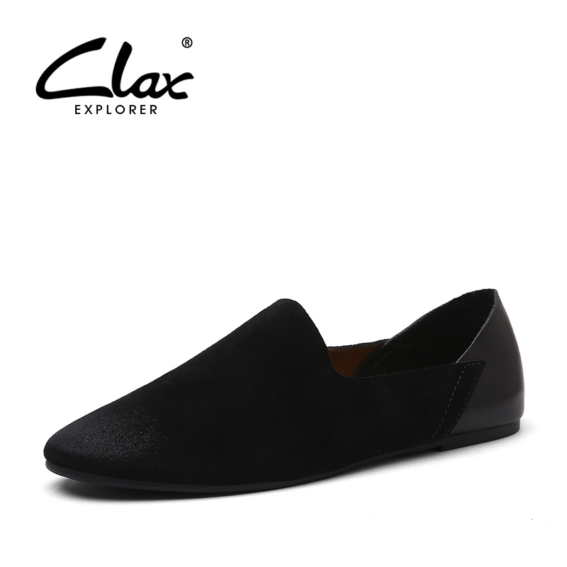 Clax Men Flat Shoe Slip On 2018 Spring Summer Genuine Leather Loafer Male Suede Leather Shoes Casual Footwear clax men shoes luxury brand loafers genuine leather male driving shoes slip on black dress shoe moccasin designer classical