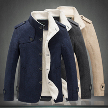 Winter Fashion Men Jacket Slim Fit Stand Collar Casual Thick Velvet Jackets Korean Style Cashmere Warm Coats Outwear