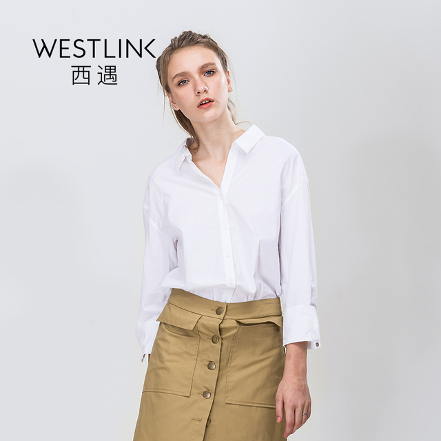 Spring New Cross-Tied Pure Cotton White Loose Decent Tops Sexy V-neck Women Blouses Shirts White