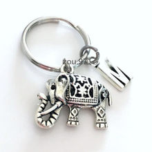1pcs Zoo Key chain Indian Animal Gift Circus Keyring Ornate Filigree Jewelry Initial(China)