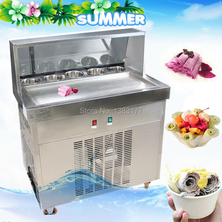 free air ship to your home CE R410 single pan 304 stainless steel fried ice cream roll machine fried thai ice machine for sale ce fried ice cream machine stainless steel fried ice machine single round pan ice pan machine thai ice cream roll machine