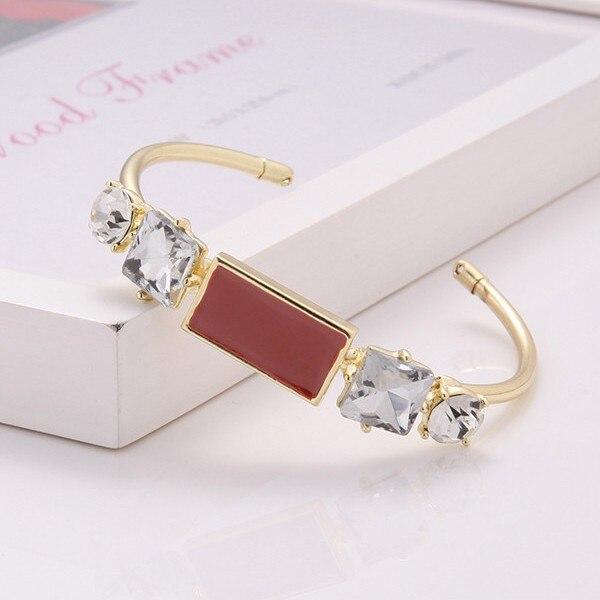 H:HYDE 2016 Luxury Design White Cubic Zircon Women Bangle Bracelets Cuff Gold Color High Quality pulseiras