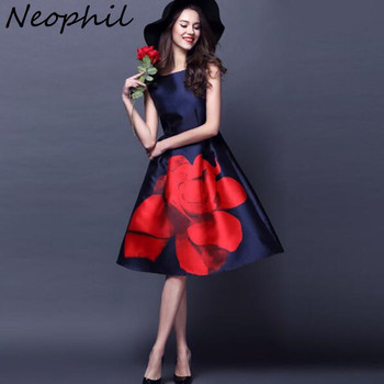 Rose Flower Floral Print Elegant High Waist Ball Gown O Neck Sleeveless Dresses