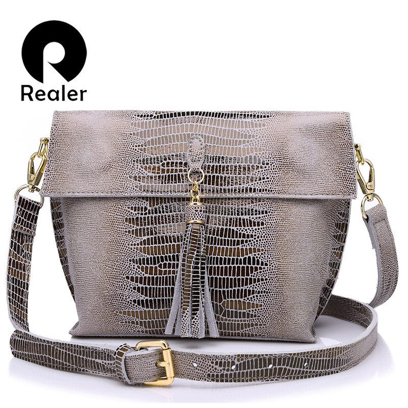 REALER women messenger bags genuine leather shoulder crossbody bag ladies handbags tassel serpentine pattern evening bag female