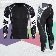 Мужской спортивный костюм rashgard, комплект спортивной одежды, спортивный костюм для мужчин, футболки для кроссфита с длинным рукавом, Мужская одежда, компрессионные беговые костюмы Mma