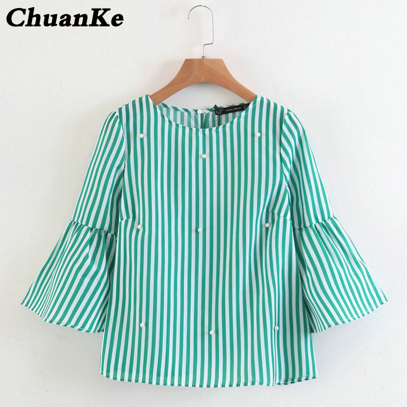 Elegant Pearls Beading Striped Shirt Sleeve O-Neck Blouse Ladies Summer