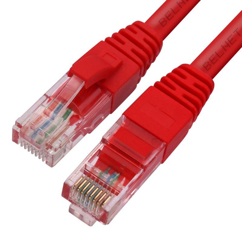 Cabo de remendo do cabo de rede do lan dos ethernet de belnet utp cat5e rj45 para o cabo 0.2 m 0.3 m do portátil do computador do roteador 1 m 2 m 3m 5 m vermelho