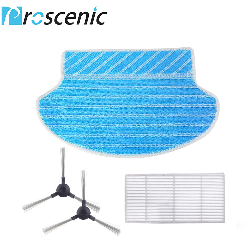 Proscenic 790T Robotic Vacuum Cleaner Replacement Kit 1 HEPA Filters 1 Mopping Cloth Filters And 2