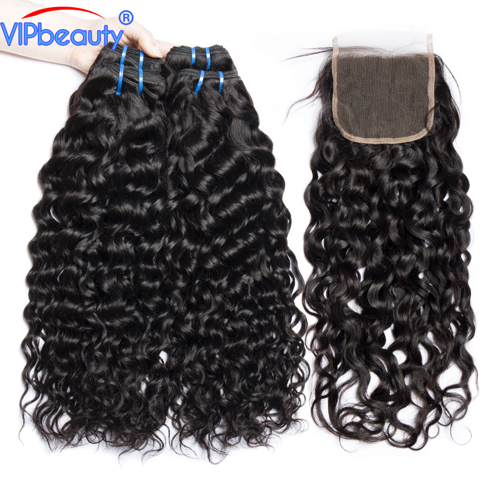 Vip Beauty Peruvian Human Hair 3 Bundles Water Wave With Closure Non Remy Water Wave Bundles with Lace Closure Hair Extension