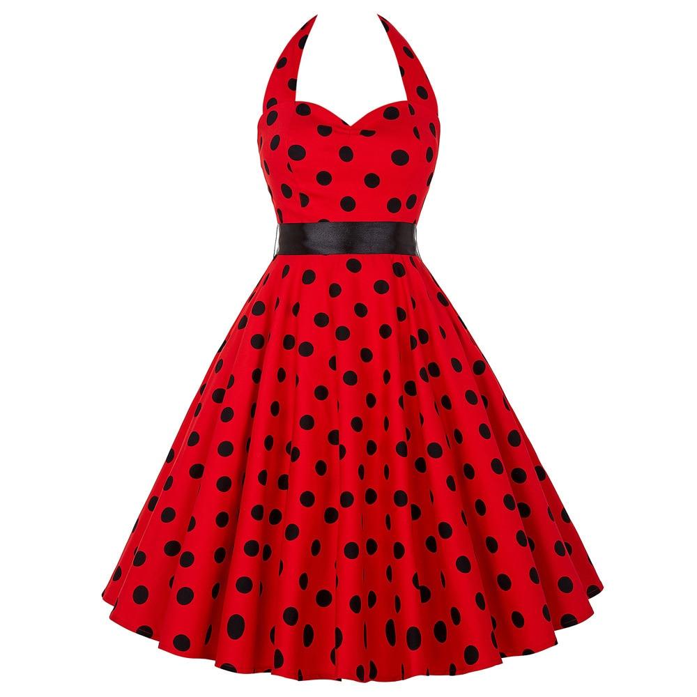 Cheap Vestidos Women Summer Cotton Polka Dots Dress Retro Vintage 50s Rockabilly Swing Pinup Floral Print Party Dress plus 4599 Harley-Davidson Sportster