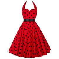Cheap Vestidos Women Summer Cotton Polka Dots Dress Retro Vintage 50s Rockabilly Swing Pinup Floral Print