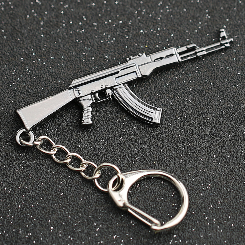 CS GO CSGO CF Keychain AK 47 Rifle Gun Weapon Counter Strike Cross Fire AK47 AK-47 Keyring Key Chain Ring PUBG Jewelry Wholesale