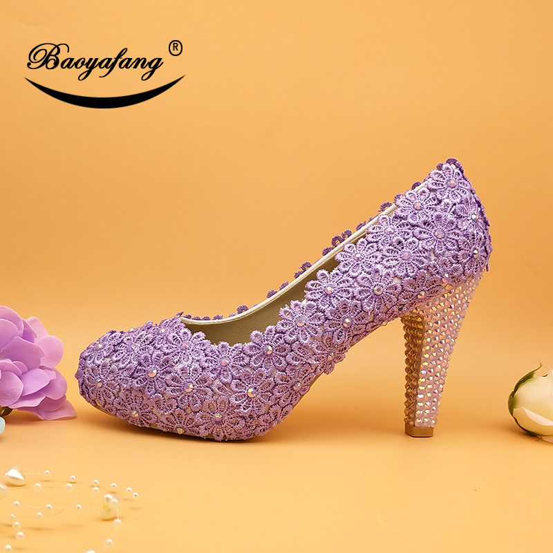 BaoYaFang New arrival 10cm Violet Flower Wedding shoes Bridal Lilac Lace shoes woman Shining Crystal Party dress shoes Lavender handmade new fushcia imitation pearl woman wedding dress shoes woman bridal shoes lady crystal party prom shoes