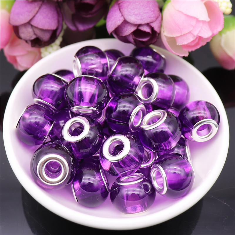 10Pcs 17 9mm Round loose spacer bead crystal clear glass beads charm fit for pandora bracelet bangle necklace DIY jewelry making in Beads from Jewelry Accessories