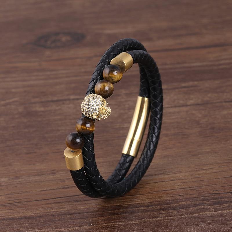 New stainless steel bracelet tiger eye stone beads bracelet natural lava stone Beads stainless steel bracelet Men Women Jewelry