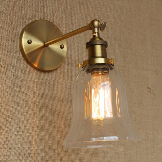 Golden Vintage Style Loft Industrial Lamp Wall Light With Glass Lampshade Edison Wall Sconce Lamparas De Pared loft vintage edison glass light ceiling lamp cafe dining bar club aisle t300