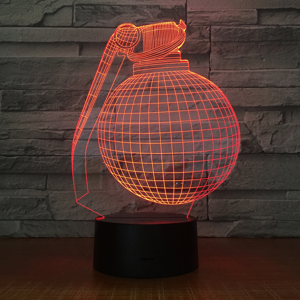 Grenade 3d 7 Color Night Light Bedroom Holiday Decoration Table Lamp Gift Atmosphere Lamp 1571