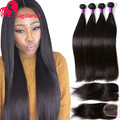 Malaysian Virgin Hair 4Bundles With Closure Malaysian Straight Virgin Hair With Closure 8A Grade Virgin Human Hair With Closure