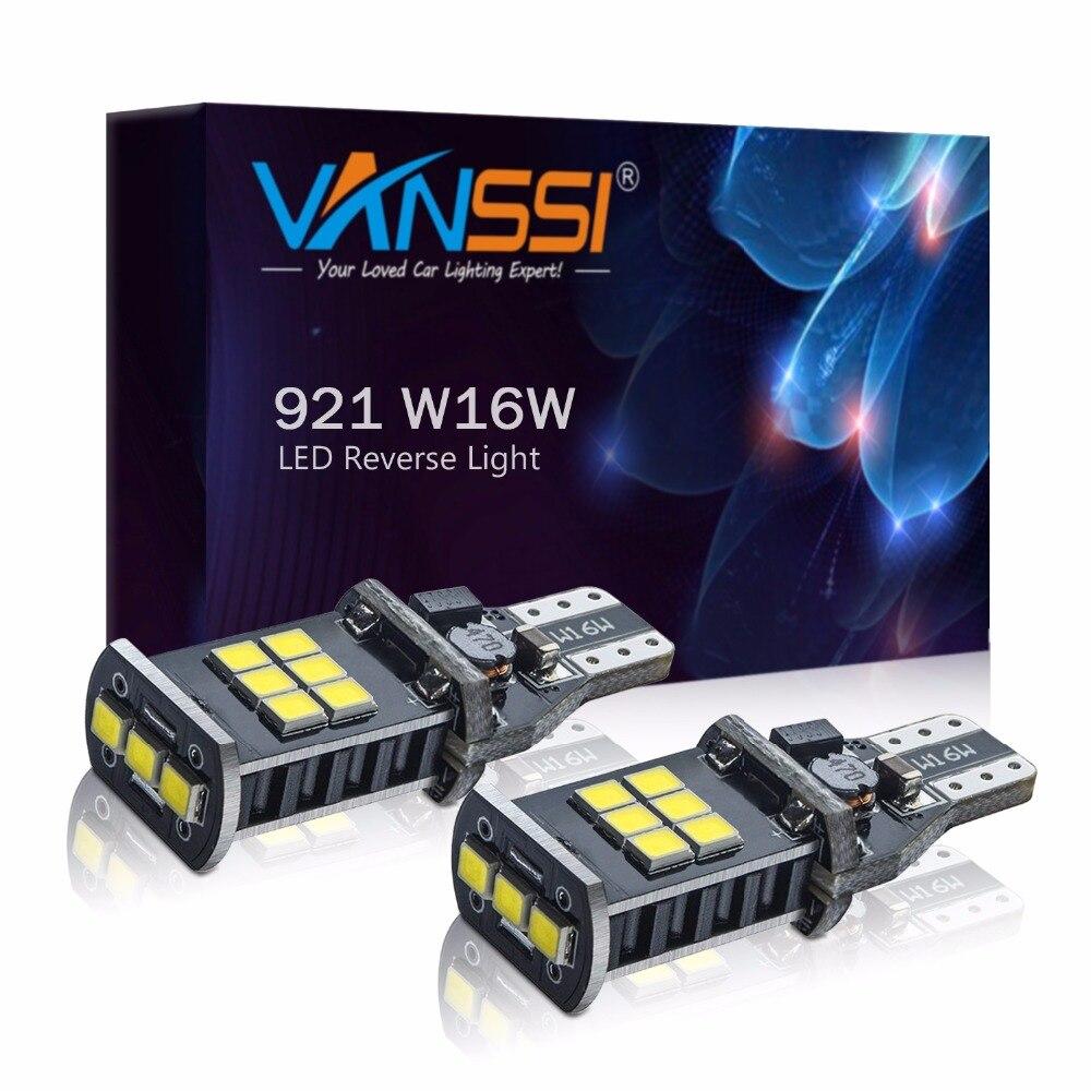 Светодиодный фонарь VANSSI 2x921 912 T15 T16 W16W WY16W, 1000lm CANBUS, без ошибок, Задний сигнал, Белый/янтарный, 2 года гарантии