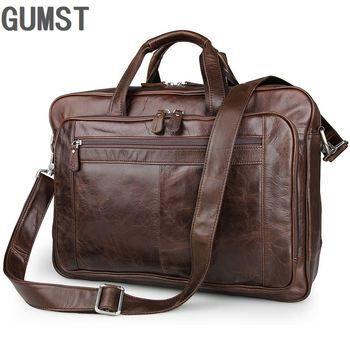 GUMST Brand Men Laptop Bag Briefcase Fashion Men's Business Bags Casual Genuine Leather Messenger Bag for Men