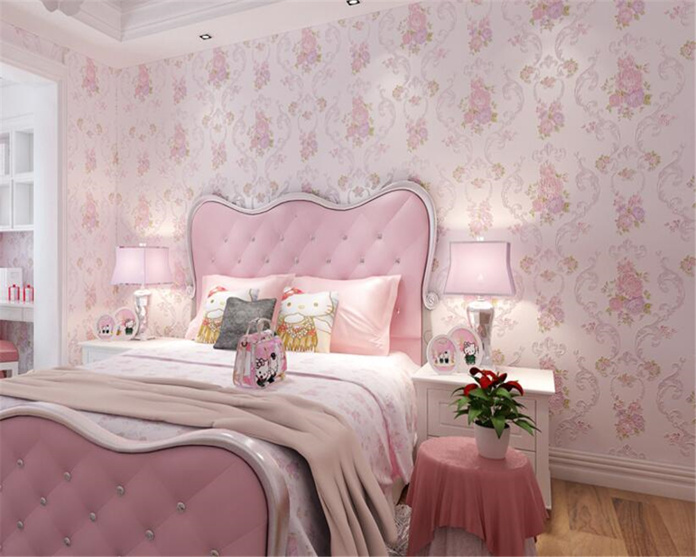 beibehang Nonwovens Pastoral 3d Wallpaper Stereo Flower Engraving Bronzing Bedroom Background Walls papel de parede wall paper beibehang simple pastoral stereo