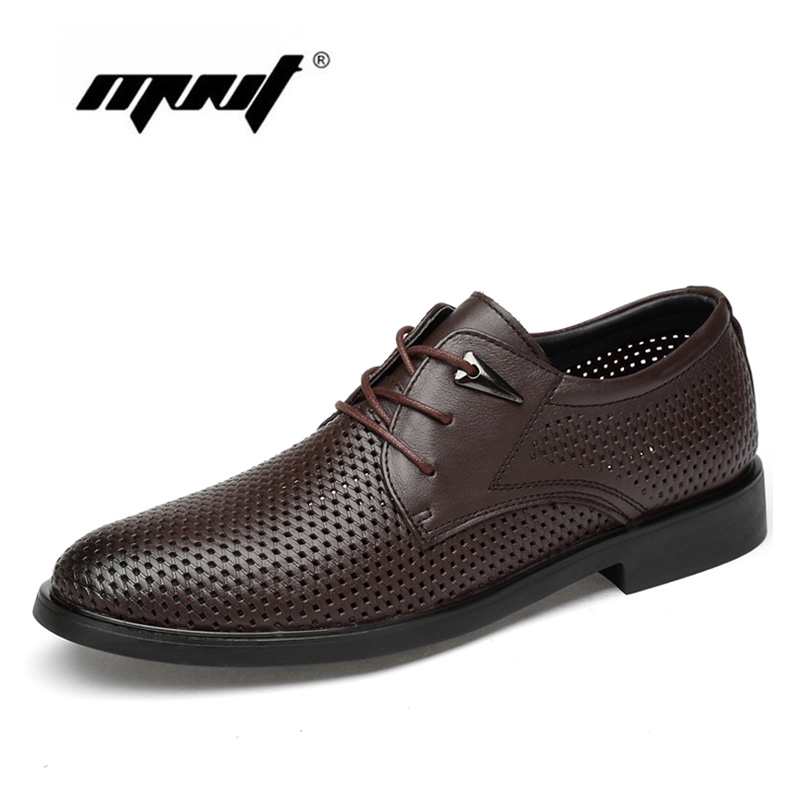 Full Grain Leather Business Men Dress Shoes Plus Size Hole Oxford Shoes Men Classic Wedding Shoes