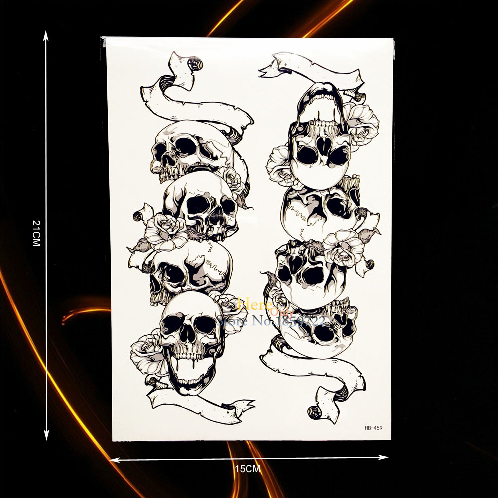 1PC New Design Cool Punk SKull Arm Sleeve Tattoo Body Art Temporary Tattoo Sticker Removable Waterproof Tatoo Leg Makeup HHB-459
