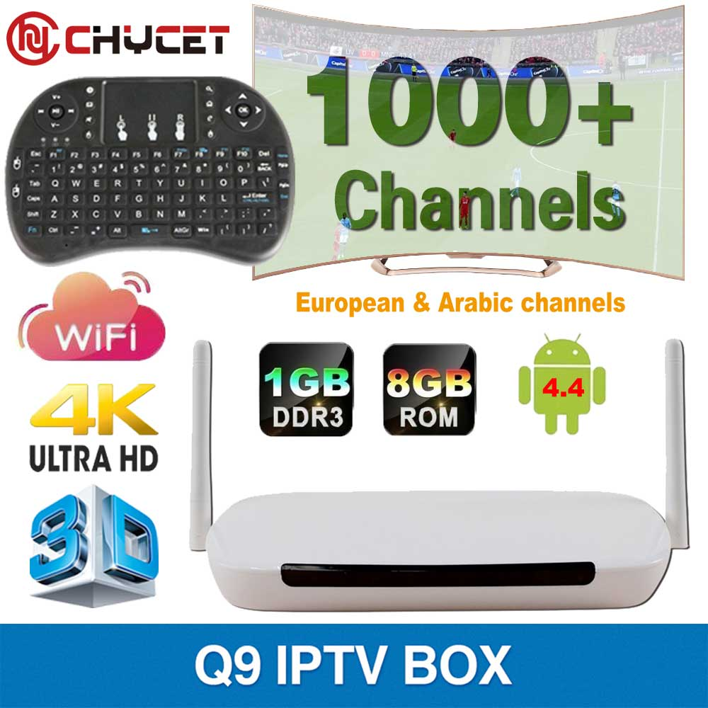 Chycet Q9 android tv box Europe Arabic IPTV Box Full HD 1080P Quad Core 1G/8G Support Kodi DLNA 4K 3D Build In Wifi