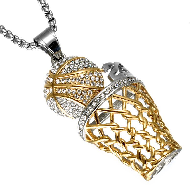 High Quality Bling Hip-hop Jewelry Basketball Hoop Rhinestone Pendant Necklace Without Chain For Men Women Gift